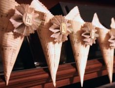 paper cone tutorial spell a word use 3 to 4 Thanksgiving Banner, Thanksgiving Decorations, Thanksgiving Ideas, Fall Crafts, Arts And Crafts, Paper Crafts, Sheet Music Crafts, Music Paper, Book Page Crafts