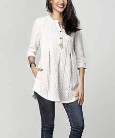 Love this Cream Cable Knit Notch Neck Tunic by Reborn Collection on #zulily! #zulilyfinds