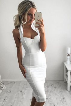Honey Couture - White Collar Bustier Bandage Dress