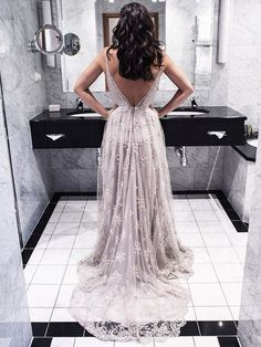 Sexy A-line V-neck Lace Court Train Lace Backless Prom Dresses $175.99