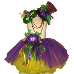 Maybe similar look to skirt part for woodland fairy but different colors  Mardi Gras Mad Hatter Tutu Set by TutuFactory1 on Etsy