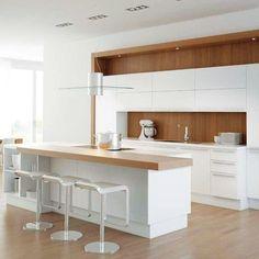 Modern white kitchen table white and wood kitchen modern white and wood kitchen designs small white . White Wood Kitchens, Walnut Kitchen, New Kitchen, Kitchen White, Kitchen Ideas, Kitchen Trends, Kitchen Dining, White Contemporary Kitchen, Modern Kitchen Design