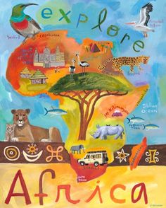 """""""Explore Africa"""" wall art for kids rooms by Donna Ingemanson for Oopsy daisy, Fine Art for Kids $159"""