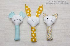 Crystalfrom Stitched by Crystalshares a freesewingpatternat Make It and Love It for these cute baby rattles. The same basic shape can be easily adapted to make a bunny, a mouse, or a cat R…