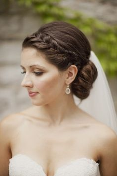 Braid and Chignon Bridal Hair | http://www.genevieverenee.com/