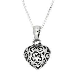 Sterling Silver Three Dimensional Filigree Puff Heart Necklace