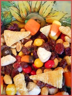 fall snack mix.  Leave out candy corns.  Add pretzels, teddy grahams, peanuts