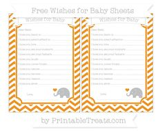 Carrot Orange Chevron  Baby Elephant Wishes for Baby Sheets