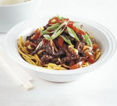 Crispy chilli beef [Great recipe! but noodles need more sauce. Maybe double it and add noodles to the pan with everything at the end to soak up more flavor. Fry beef until it's really browned, it actually makes it softer! ]