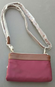 Baggallini Tessa Convertible Clutch  Crossbody Bag Wristlet Rose Quartz Burgundy #Baggallini #CrossbodyClutch