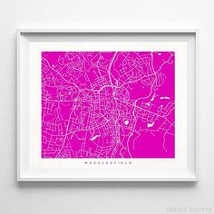Macclesfield, England Street Map Wall Art Poster - 70 Color Options - Prices from $9.95 - Click Photo for Details - #streetmap #map #homedecor #wallart #Macclesfield #England