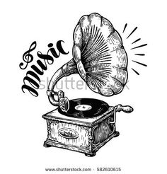 Hand drawn gramophone, sketch. Music, nostalgia symbol. Vintage vector illustration