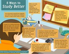 really like some of these infographics, hate others  omgsuperladyblog:  8 Ways to Study Better: 1.) You can prevent yourself from forgetting up to 80% of the material by reviewing a lecture or study content within 24 hours. 2.) Instead of re-reading information again and again, close your eyes and recite as much as possible from memory. This can cement long-term memorization. 3.) If available, take practice tests. One study showed that students retained 50% more of the