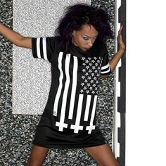 """Amerikunt"" Mesh Tee Available at www.crmc-clothing.co.uk | WE SHIP WORLDWIDE Model - Evie Cherrie Photography by @jstyle59 #vixen #starsandstripes #starspangledbanner #alternative #pentagram #fashionstatement #invertedcross #americunt #fashionista #meshtee #blackandwhite #alternativeblackgirl #blackmodel #blackgirlsrock #beautifulblackwomen #cute #beautiful #dailyfashion #styles #style #alternativegirl #alternativeteen #alternativeboy #Baphomet #love"