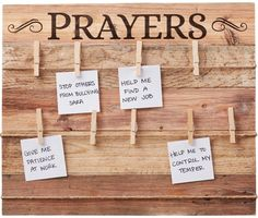 Keep your prayers top of mind with this rustic prayer board. Made up of wood slats and featuring three rows of twine stretched across the board, the word Prayers is printed in large letters. Use the included clothespin clips to attach your prayer