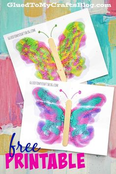 Paint Splat Butterflies w/free printable template - Spring Themed Kid Craft Idea - Mixed Media Butterfly Tutorial - Marbled Butterfly Wings crafts preschool Paint Splat Butterflies w/free printable template Spring Crafts For Kids, Summer Crafts, Art For Kids, Painting Crafts For Kids, Craft Paint, Kid Art, Butterfly Kids, Butterfly Crafts, Butterfly Mobile