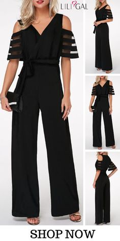 Gauze Patchwork Cold Shoulder V Neck Jumpsuit - Outfit Trends Classy Outfits, Stylish Outfits, Beautiful Outfits, Dame Chic, Jumpsuit Outfit, Ruffle Jumpsuit, Black Jumpsuit, Romper, Outfit Trends