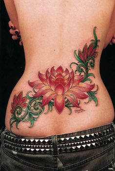 Beautifully colored lotus tattoo