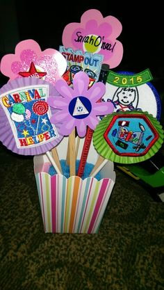 Award presentation use a pool noodle to hold sticks in place. Popcorn box from oriental trading. Girl Scout Daisy Activities, Girl Scout Crafts, Girl Scout Badges, Brownie Girl Scouts, Girl Scout Leader, Girl Scout Troop, Girl Scout Bridging, Girl Scout Patches, American Heritage Girls