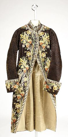 """c. 1780, French. This is an example of """"queer fashion"""" in the 18th century because of the detailing all over the coat, and the extensive, detailed, and colorful embroidery."""
