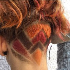 beautiful hidden undercut pattern for a girl, with fall hair colors too!