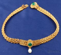 Etruscan Revival 14kt Gold and Gem-set Necklace, designed as a braided choker, set with cabochon emeralds, suspending a freshwater pearl, applied bead and ropetwist highlights, lg. 14 1/2 in., in a period box (1800s?).