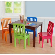 $159.99 Wood Table/4 Chairs from Costco.ca- it's extremely important for children to be seated comfortably when they're young, and child sized table/chairs so their feet can be planted on the floor.