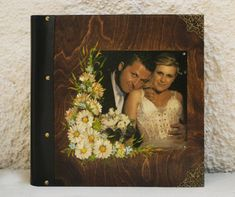 Wedding picture, wedding portrait, couple portrait, wedding rustic album, portrait scrapbook, photo cover album, valentine wood photo by Hirotechnion on Etsy Wedding Photo Albums, Wedding Album, Wedding Rustic, Handmade Wedding, Couple Portraits, Wedding Portraits, Photo On Wood, Black Paper, Wedding Pictures