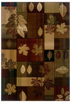 United Weavers Contours Lodge Area Rug Autumn Bliss Toffee Patchwork Leaves from PowerSellerUSA - Collection: Contours Lodge Rugs Style: Autumn Bliss Toffee S
