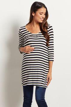 Black White Striped 3/4 Sleeve Shirt