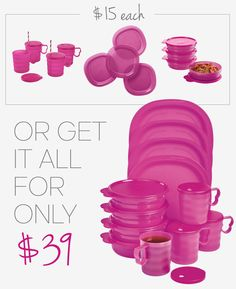 Save on Tupperware Lunch Plates, Microwave Cereal Bowls & Mugs.