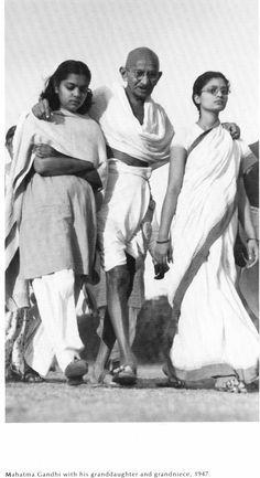 Mahatma Ghandi with his granddaughter and grandniece - Margaret Bourke-White