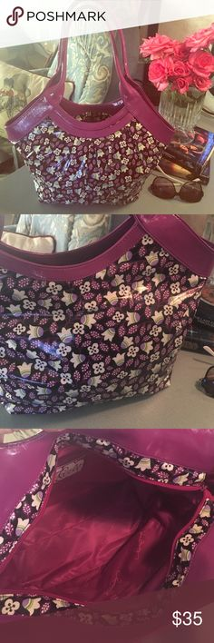 Vera Bradley Frill Plum Petals Tote Brand new never used Vera Bradley Frill Tote called plum petals rare limited edition bag coated can be used in the rain or too the beach as a cute tote or carry it everyday No stains, No rips , smoke free home 11 x 15 x 4 in excellent condition ☔️ Vera Bradley Bags Totes