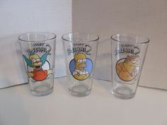 The Simpsons, Krusty the Clown, Simpson's glass set, Homer Simpson commemorative glasses, TV series the Simpsons glasses, Barney Gumble, by BeautyMeetsTheEye on Etsy