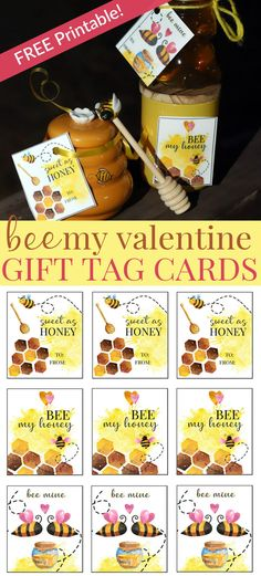 Print these cute Bee Mine themed gift tags and cards in three different phrases this Valentine