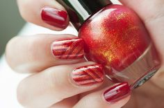 Red striping tape manicure. Essence  Do you speak love? and Wibo Glamour Nails 3