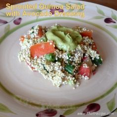 Sprouted Quinoa Salad and Avocado Dressing - raw food recipe, vegan recipe, delicious spring salad!