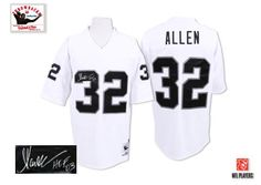 marcus allen mens authentic white jersey mitchell and ness nfl oakland raiders autographed road