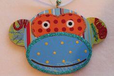 Colorful Monkey Nursery Baby Kids Wood Slice Mobile Ornament Signed Lichtenstein