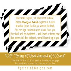 Bring A Book Instead Of A Card - Gold Black White Stripes - Printable Enclosure Card Insert Baby Shower Sprinkle Ideas - Baby library books by SprinkledDesigns.com