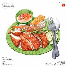 Your Food My Challenge 2019 Food Art Painting, Cute Food Art, Food Sketch, Food Cartoon, Watercolor Food, Grilled Pork, Food Drawing, Aesthetic Food, Food Illustrations