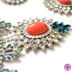 Pair the Leona necklace with matching Eva earrings for a #fierce night out. #makeastatement #jewelry #fashion #bling #statement #jewels #coral #treatyoself #love #layering #gems #neverenough #AyanaDesigns #killingit