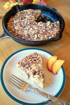 Peach Almond Crunch Cake | Gluten Free, Low Carb | Wheatless Buns / #lowcarb shared on https://facebook.com/lowcarbzen