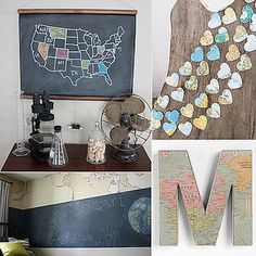 Heart garland made from maps