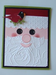 handmade Christmas card ... paper punch art ... face of Santa ... two step bird in redwith inking ... luv the beard made with big rose embossing folder ... luv it!! ...Stampin' Up! - Picmia