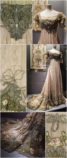 Evening dress by Redfern, 1903-13, at the Palais Galliera, musée de la Mode de la Ville de Paris. Worn by Anna Gould. Pink pongee silk, embroidery, lace, pearls, gold tulle, lining, petticoat. Close-up photos of the embroidery: © Eric Emo / Galliera / Roger-Viollet. Photos of the dress on a mannequin: Jacqueline Poggi / jacqueline.poggi on Flickr (full-length shots of the dress and its bodice) and Katia / damealalicorne on Instagram (detail of train). CLICK THROUGH TO ENLARGE THE IMAGE