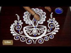 Lotus Rangoli, Diya Rangoli, Small Rangoli, Rangoli Borders, Rangoli Border Designs, Rangoli Designs Images, Free Hand Rangoli Design, Special Rangoli, Muggulu Design