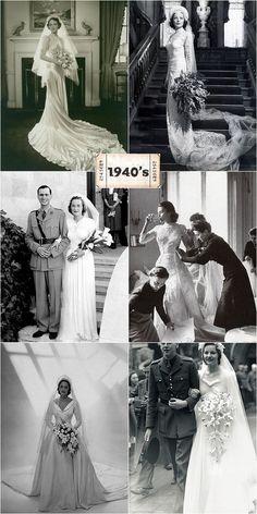1940's wedding dresses. Yes!  I love the bottom left one!!