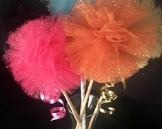 Items similar to Pink & White Glitter Tulle Pom Centerpieces, Shower Decorations on Etsy Glitter Wedding Centerpieces, Princess Party Centerpieces, Pom Pom Centerpieces, Ballerina Party Decorations, Pom Pom Decorations, Bridal Shower Centerpieces, Engagement Party Decorations, Birthday Centerpieces, Gold Wedding Decorations