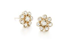 Diamond Flower earrings, yellow gold